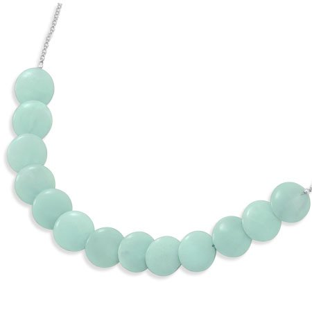 Sterling Silver 16.5 + 2 Inch Amazonite Necklace