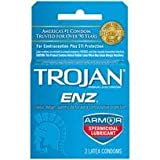 Bundle Package Of Trojan Enz w spermicide 1 - 3 pack And a Bottle of 1.7 -oz Personal Silicone Lubricant