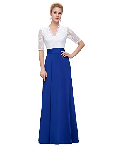 Women Lace Half Sleeve V-neck Maxi Ball Party Dresses (White,S)