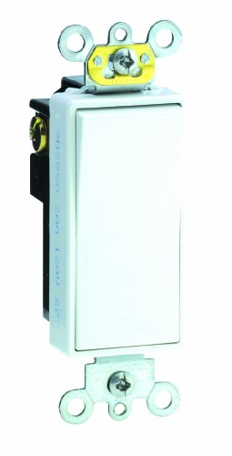 20 Amp, Decora Plus Rocker Single-Pole AC Quiet Switch, 120/277 Volt, Commercial Grade, Back and Side Wired, Grounding, Brown/Black/Grey/Ivory/Red/Light Almond/White, 5621-2