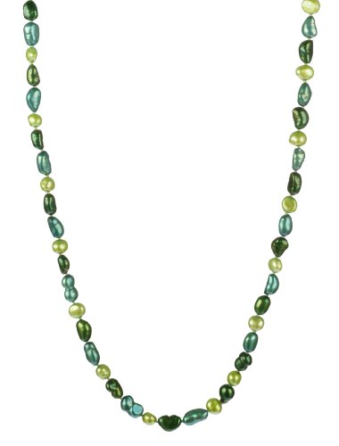Blue and Green Color Baroque Fresh Water Pearl Knotted Endless Necklace, 50