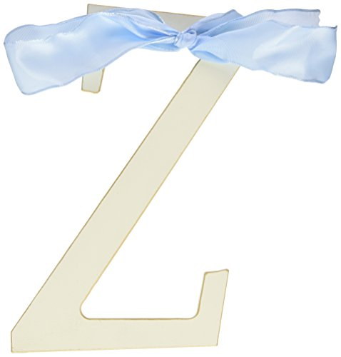 New Arrivals Wooden Letter Z with Blue Solid Ribbon, Cream