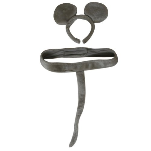 Gray Mouse Headband Ears and Tail Costume Set - 1