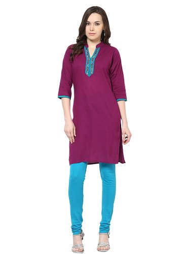 Jaipur Kurti Womens Cotton Purple X-Large Kurta (multicolor)