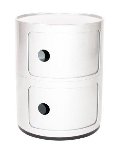 Kartell Componibili Runde Aufbewahrungseinheit 2 Schubladen Weiß