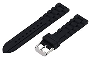 20mm Premium Silicone Solid Black - Easily Interchangeable Replacement Watch Band / Strap - Fits All Watches!!!