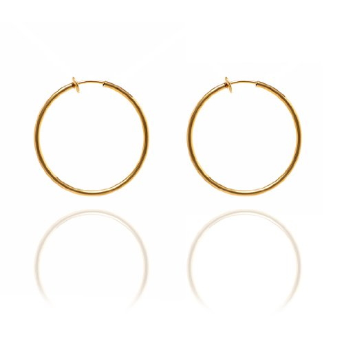 Sexy Spring Loaded Gold Tone Hoops - 3.5cm