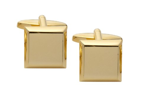 Code Red Square Gold Plated Cufflinks with Black Enamel