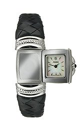 Fendi Spy Petite Braided Leather Bangle Mother-of-Pearl Dial Women's Watch #F901241S