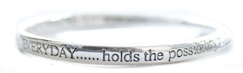 Equilibrium Silver Plated Bangle - Everyday Holds The Possibility Of A Miracle