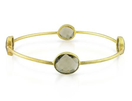 Yellow Gold Plated Silver 16ct TGW Smokey Quartz Bangle (8in)