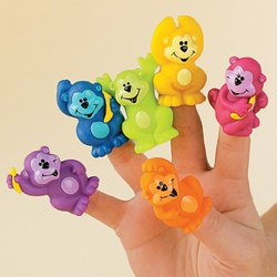 12 Neon Monkey Vinyl Finger Puppets ZOO Animal Jungle Party Favor Novelty TOY