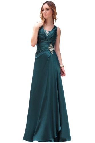 CharliesBridal Teal V-Neck Floor Length Evening Dress - M - Teal