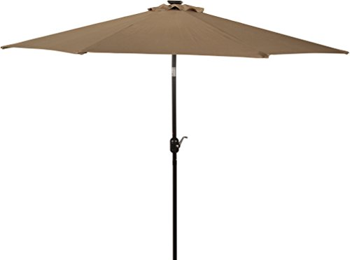 led lighted patio umbrella outdoor 9ft tan deluxe solar