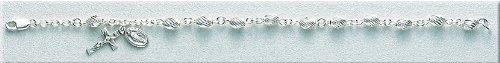 Sterling Silver Rosary Bracelet Bracelets Catholic Oval Bead Standard Length