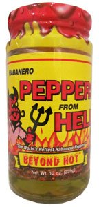Habanero Peppers From Hell - Look out! The whole pepper. Add 'em to taco meat, burros, eggs, guacamole, or just sprinkle on a batch of nachos. For a sinfull treat.