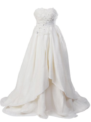 Artwedding Rosette and Rhinestone Satin Ball Gown Formal Prom Wedding Dress,Ivory