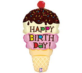 "Ice Cream Cone Shaped Happy Birthday 33"" Foil Balloon - 1"