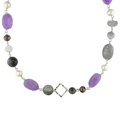 New York Pearls Silvertone Pearl and Multi-gemstone Necklace (9-10 mm)