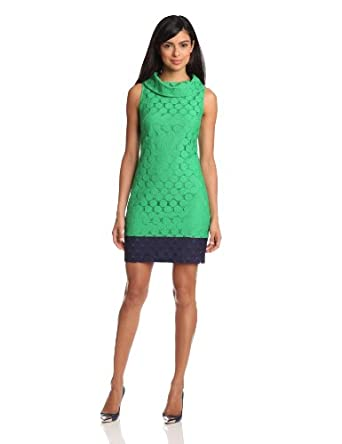 Adrianna Papell Women's Roll Collar Lace Sheath Dress, Green, 4