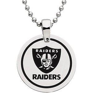 Oakland Raiders Official NFL Logo Round Pendant Necklace, Chain 27 by The Men