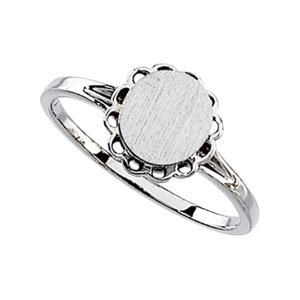 14K White Gold Oval Signet Ring Size: 13