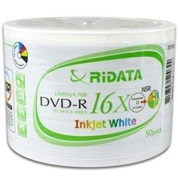 200 Ritek Ridata 16X DVD-R 4.7GB White Inkjet Hub Printable