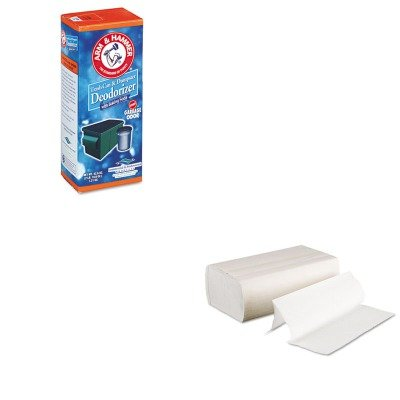 Kitbwk6200Chu3320084116 - Value Kit - Arm And Hammer Trash Can Amp;Amp; Dumpster Deodorizer (Chu3320084116) And Boardwalk 6200 Multi-Fold Paper Towels, Bleached (Bwk6200) front-1046828