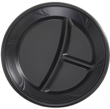 Finesse Black Microwaveable Plastic 9-Inch Compartment Plates, Made Of Polyproplyene 100 Per Box