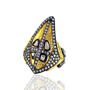 Vintage Style Studded Diamond Ring With Silver 14k Yellow Gold