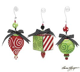 Set of 3 Tear Drop, Ball & Square Ceramic Christmas Ornaments He Is the Reason