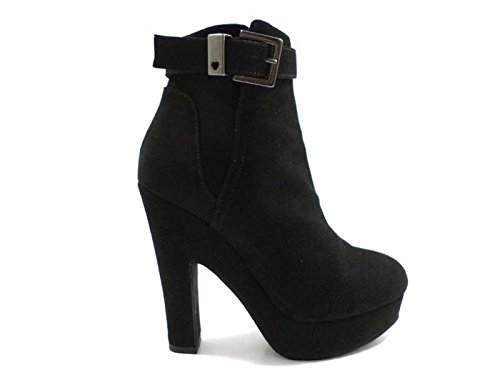 scarpe donna TWIN-SET 36 tronchetti stivaletti nero camoscio WH854