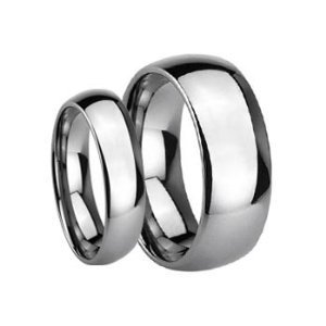 His & Her's 8MM/6MM Polished Shiny Domed Tungsten Carbide Wedding Band Ring Set (Available Sizes 5-14 Including Half Sizes) Please e-mail sizes