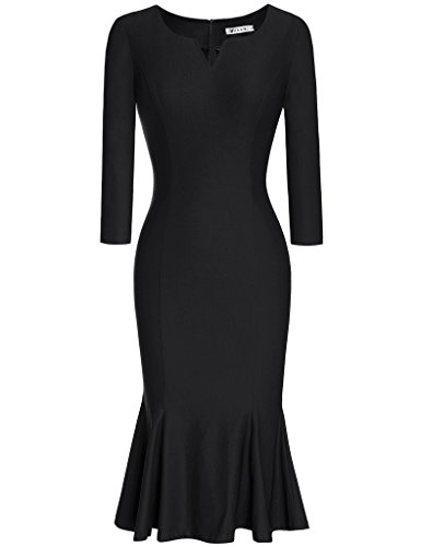 MUXXN Women's V Neck High Waist Bandage Evening Prom Dress (Black XL)