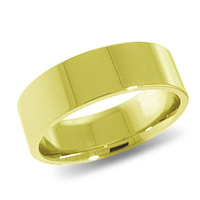 10K Yellow Gold, Flat Comfort Fit Wedding Band 7MM (sz 4.5)