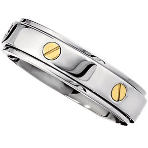 CleverEve's 7.0mm Titanium Band With 14Kt Yellow Screws Ridged Spinner Band With 14Ky Gold Size Size 11.50