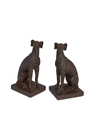Three Hands Set Of 2 Resin Dog Book Ends