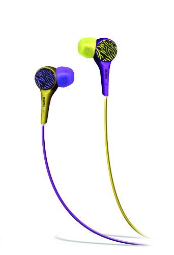 Maxell 190342 Wild Things Purple And Yellow Zebra In-Ear Buds