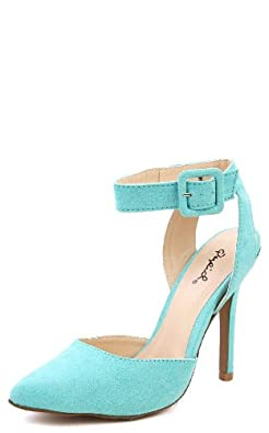 Qupid Potion-62 Pointy Toe Ankle Strap Pumps LIGHT TURQUOISE SUEDE PU (7.5)