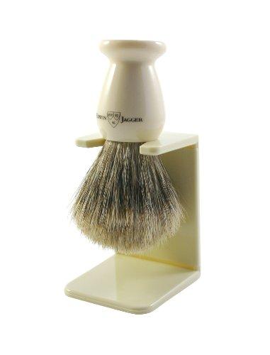 Edwin Jagger 9ej947sds Handmade Imitation Ivory Shaving Brush with Drip Stand, Ivory, Small