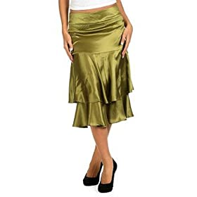 Women's Silk Satin Tiered Skirt