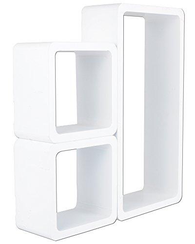 3er Set Regal Wandregal Bücheregal Hängeregal Cube Retro Regale Weiß 9210