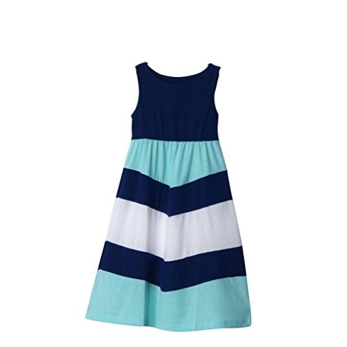 XILALU mother and baby girl Stripe Stitching Dress Casual Family Clothes Women long Dress (6Y, Girl: Blue)