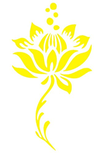 Lotus Flower and Steam Floral Vinyl Sticker Decal - 5''x4'' - Yellow (Flower Steams compare prices)