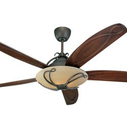 Monte Carlo 5CLR66RBD Chloe 66-Inch 5-Blade Ceiling Fan with Light Kit, Remote and Carved Dark Walnut Blades, Roman Bronze