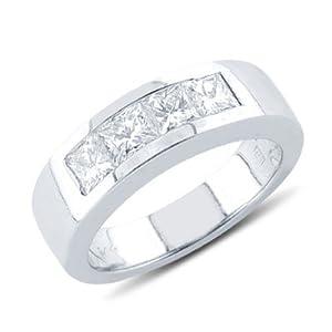 Princess Cut Diamond Four Stone Wedding Band In 14K White Gold