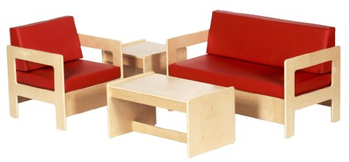 ECR4Kids Birch Children's Living Room Set, 4 Piece Set, Red