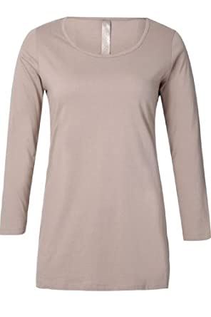 Yoursclothing Womens Plus Size Stone Long Sleeve Scoop Neck Basic T-shirt Brown