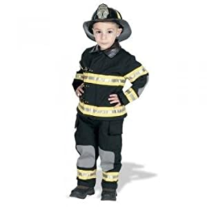 Jr. Fire Fighter Suit with helmet, size 6/8 (black)