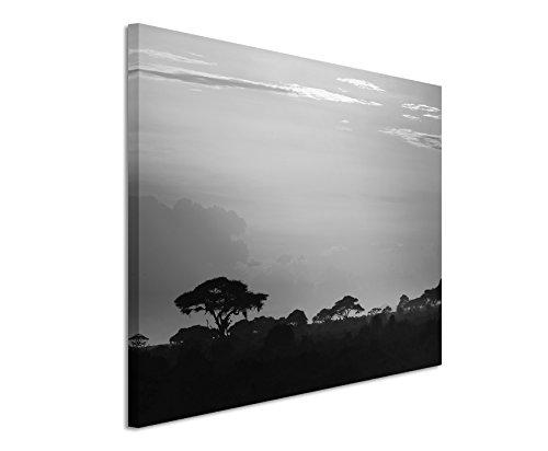 50x70cm Leinwandbild schwarz weiß in Topqualität Sonnenuntergang Kenia II